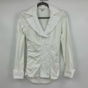 Cabi top blouse knit stretch tuxedo ruching medium